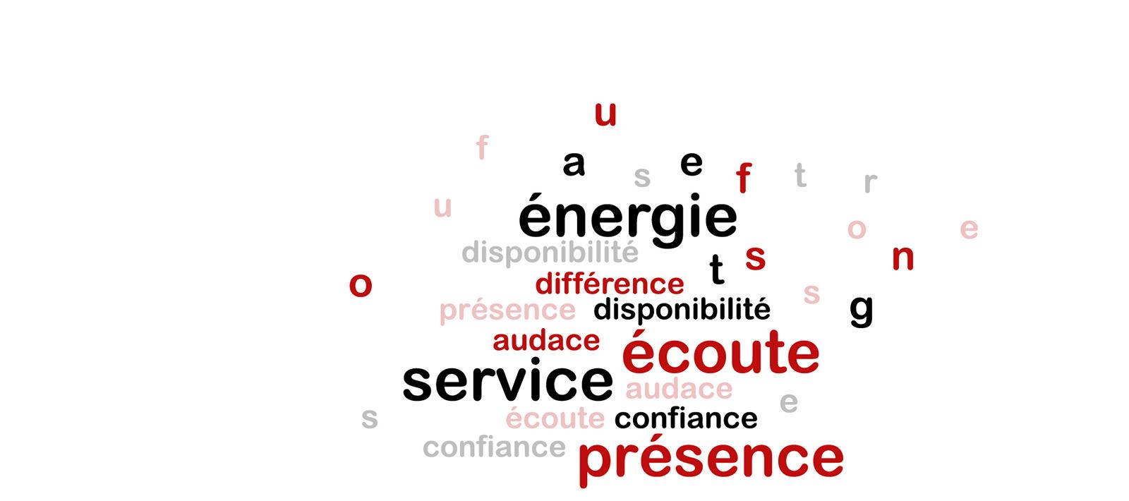 Des valeurs à partager : Présence – Disponibilité – Écoute – Confiance – Différence – Énergie – Audace – Service